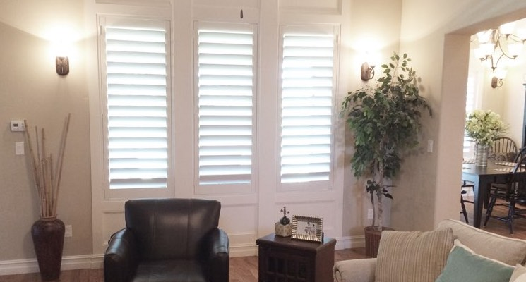 Sacramento living room white shutters